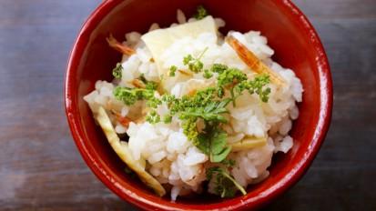 花山椒と桜海老、たけのこのご飯